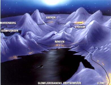 Nattbilde fra Glomfjordbanen