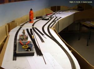 Underdal stasjon med et par nye sidespor under anlegg